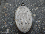 Vintage Miraculous Mother Mary Silver Religious Medal Pendant Silver Bezel 1940s