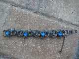 Vintage Kafin Chunky Bracelet Blue Stone Autumn Pine Cone Unsigned
