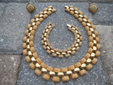 Vintage ERWIN PEARL Signed Cleopatra Collar Necklace with Bracelet & Earring Set 1980s