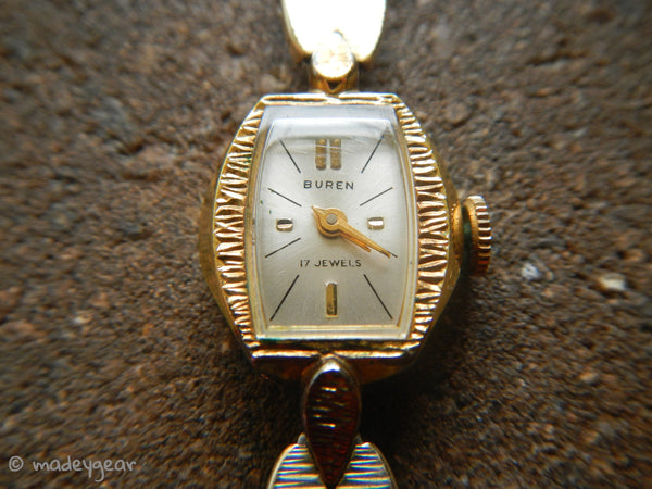 Vintage 1950's BUREN Women's Watch Wind Up Kreisler Band