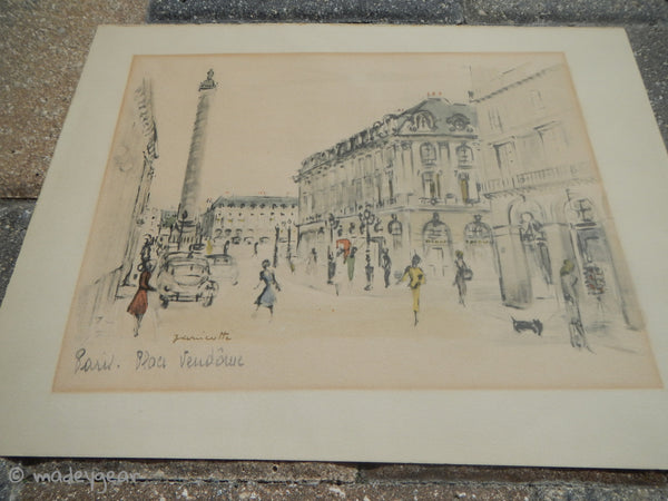 1950's Artist Janicotte French Charcoal Drawing and Gouache Watercolor~ Signed