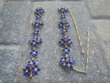 Vintage CORO Blue Lucite Flowers with Rhinestone Necklace Bracelet~Unsigned