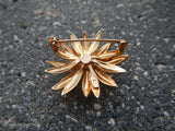 1970's 14K Yellow Gold Flower Pin Brooch w/Pearl Center and Textured Petals