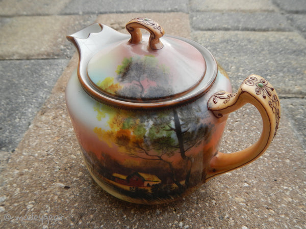 1918 Noritake Sunset Teapot with Moriage detail & Lid Fine Bone China Tea Pot~ MINT