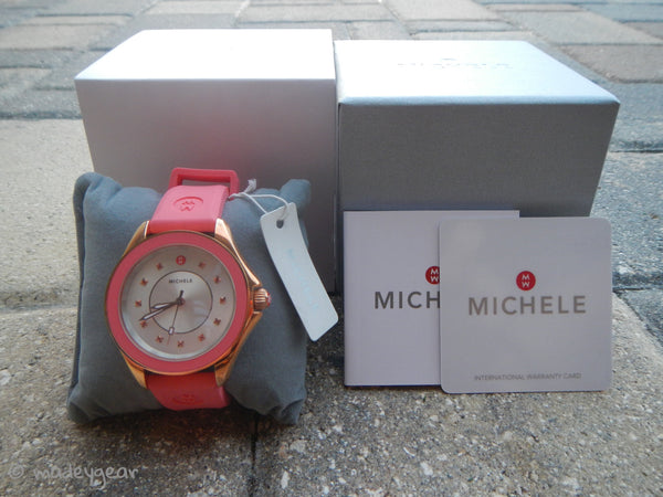 Michele Watch Pink Rose Silicone Band Gold Case Cape Topaz~ MWW27A000008