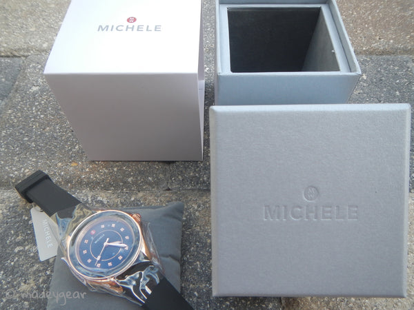 NEW Michele Watch Black Silicone Band Rose Gold Case Cape Topaz~ MWW27A000020