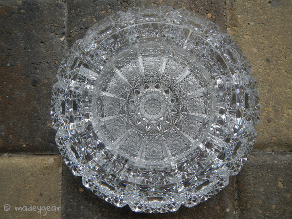 Czech Bohemia Hand Cut Queen Anne's Lace Crystal Ashtray~ 12 Section Bottom