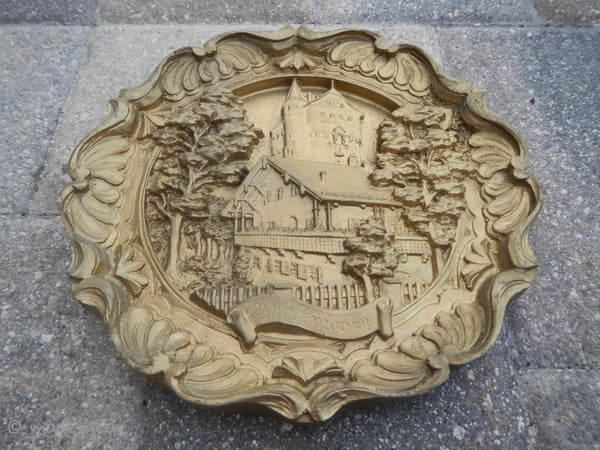 "Vintage German Carved Resin 3D Wall Plate Plaque 8 1/2"" Round~ Rare Grafenwohr"