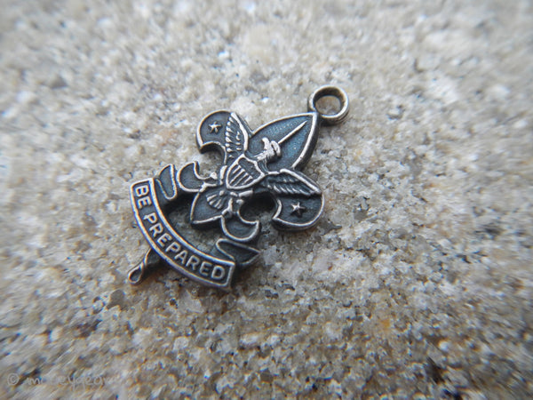 Vintage 1970's Boy Scouts B.S.A. Charm Be Prepared~ r STERLING