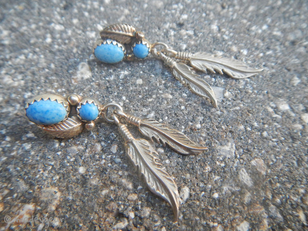 Southwestern Sterling 925 Turquoise Drop Dangle Earrings~ Running Bear