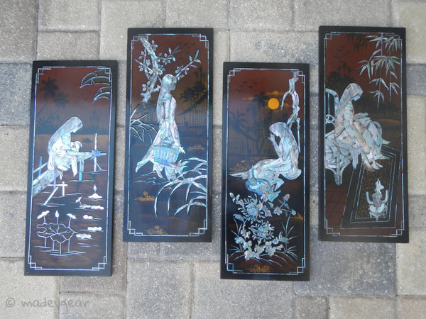 Vietnamese Lacquer Painting Panels Mother of Pearl Four Seasons~ 1960's - 1970's