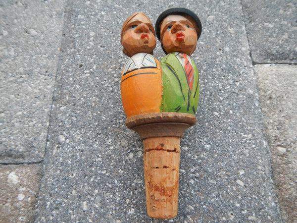 Wood Carved Bottle Stopper Cork Mechanical Man and Woman Kissing~ Anri