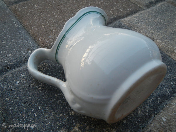 Vintage Cook Vitreous China Creamer Pitcher White Green~ 1950s