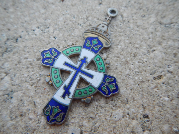 Vintage 1970's Russian Orthodox Enamel Cross Pendant~ Silver Plated Copper