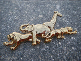 Vintage Gold Tone LR Safari Animals Giraffe Elephant Brooch Pin~ Lady Remington