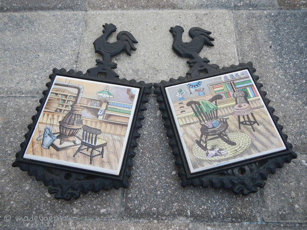 Vintage Cast Iron Rooster Trivet Ceramic Tile Japan HS Americana Country