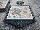 Vintage Cast Iron Rooster Trivet Ceramic Tile Japan HS Americana Country~ Qty 2