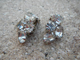 Vintage 1950's Elegant Clip Clear Rhinestone Earrings Wedding Prom~ Signed WEISS