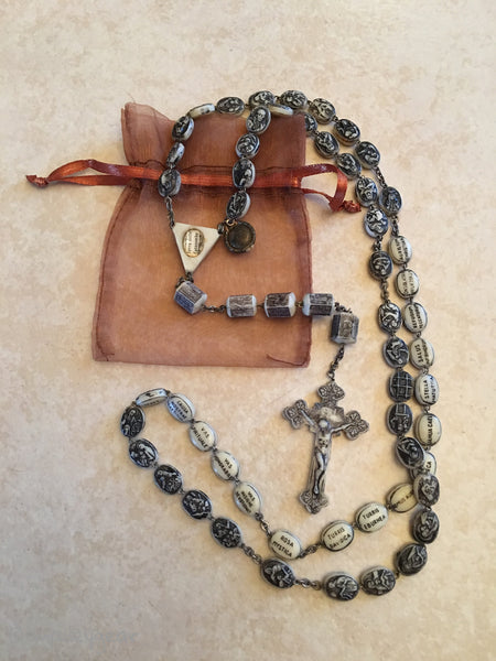Rare Vintage 1950 Civelli Rosary with Relic~ Rare Patented Rosary