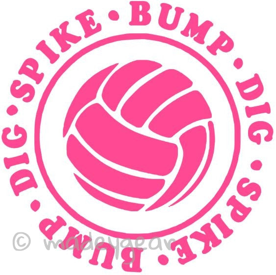 Car Window Vinyl Decal Sticker- Sports Volleyball Bump Dig Spike