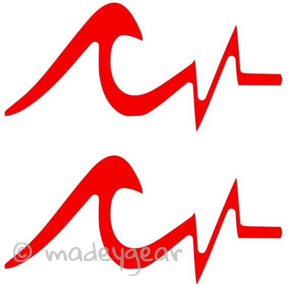 Car Window Vinyl Decal Sticker- Sports Surfing- Heartbeat Wave (Qty 2)