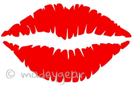 Car Window Vinyl Decal Sticker- Red Hot Kissing Lips