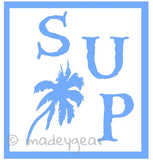 Car Window Vinyl Decal Sticker- Sports Paddleboard- SUP with Palm