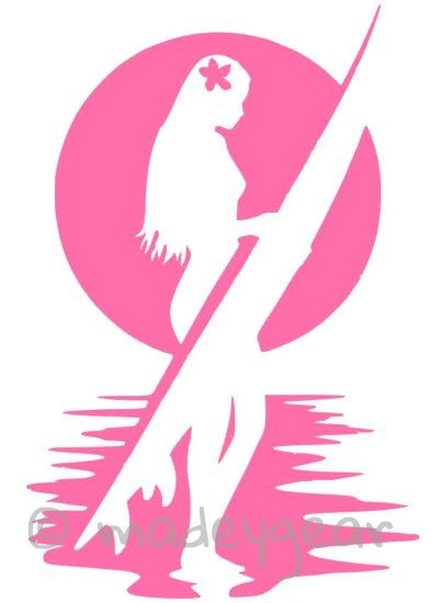 Car Window Vinyl Decal Sticker- Sports Surfing Girl with Hibiscus in Hair