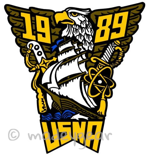 Car Window UV Protected Vinyl Decal Sticker-  Military- US Naval Academy 1989