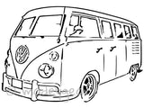 Car Window Vinyl Decal Sticker- Sports  Surfing- Volkswagon VW Vanagon