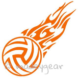 Car Window Vinyl Decal Sticker- Sports Tribal Volleyball Flame