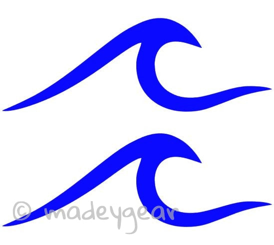 Car Window Vinyl Decal Sticker- Sports Surfing- Ocean Wave (Qty 2)