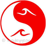 Car Window Vinyl Decal Sticker- Sports Surfing- Yin Yang Ocean Wave