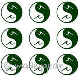 Car Window Vinyl Decal Sticker- Sports Surfing- Yin Yang Wave Minis (Qty 9)