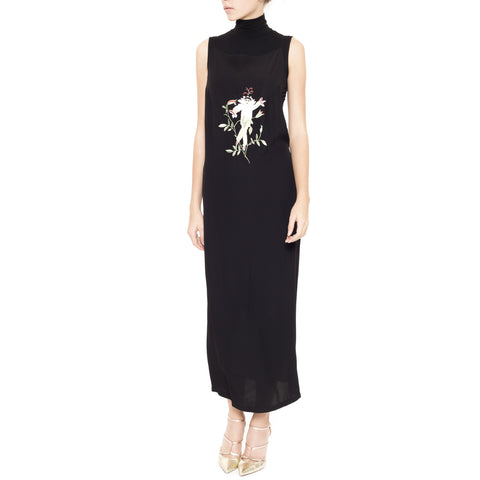 Audrey Backless Dress with Embroidered Man