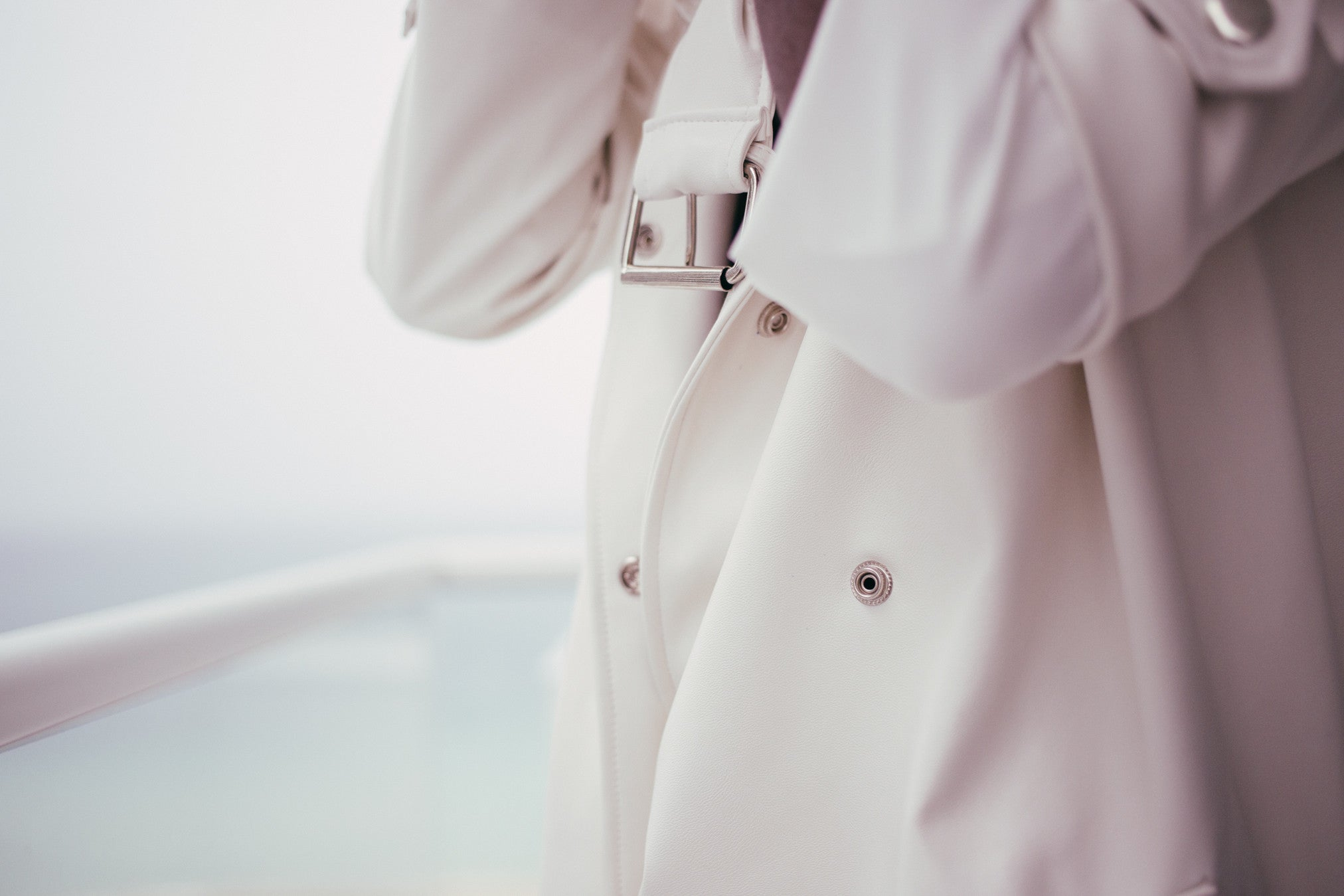 White Faux Leather Trench