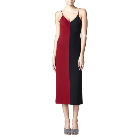 Red and Black Color blocked Dress