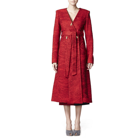 Felted wool collarless overcoat with felt and jeweled hand buttons