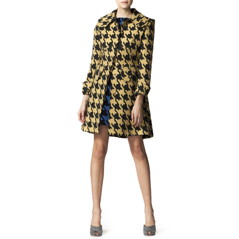 Yellow and Black Wool Hounds tooth Coat
