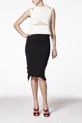 Georgia Black Side Split Pleated Skirt