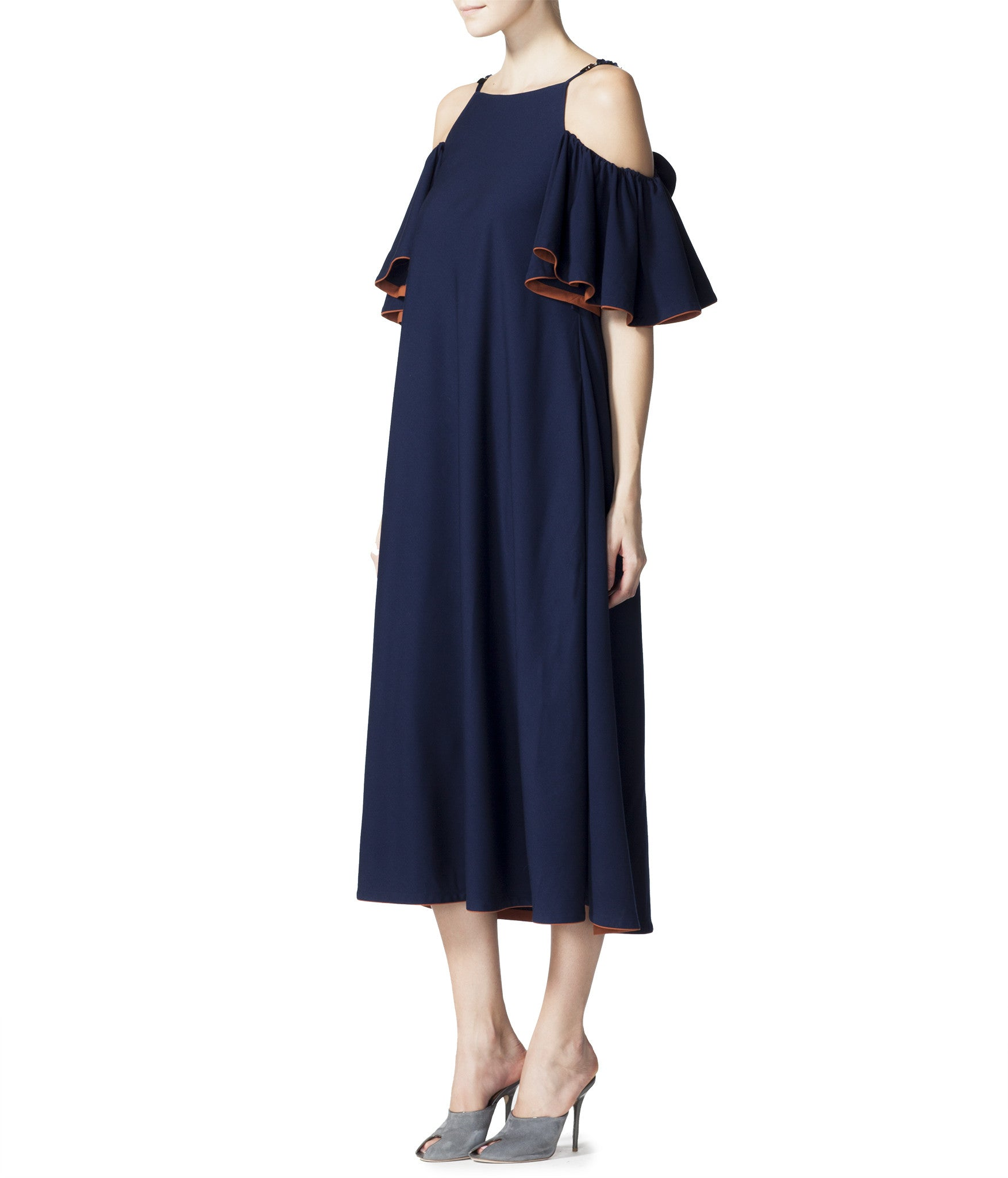 Midi Dress With Flared Sleeves
