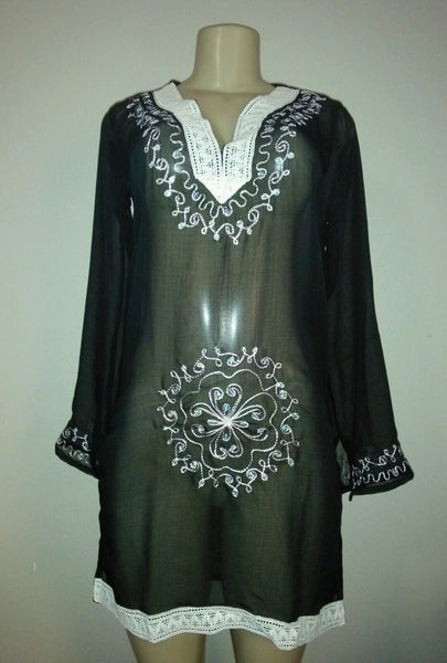 Embroidered V Neck Tunic Cover Up - Bokeelia Boutique