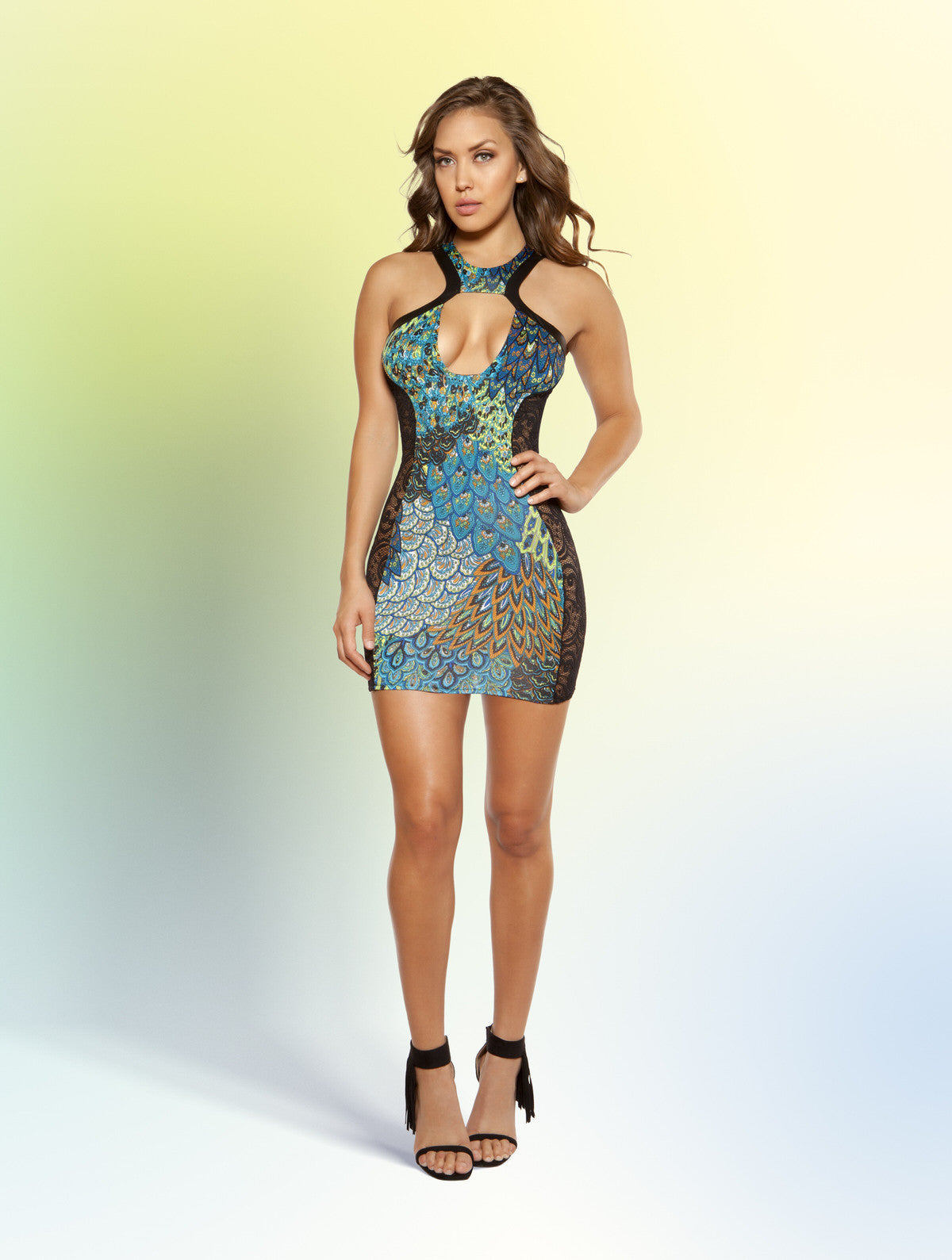 Sexy Peacock Mini Dress