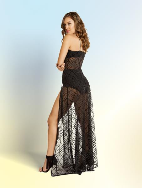 HIGH SLITS SHEER GOWN - Bokeelia Boutique
