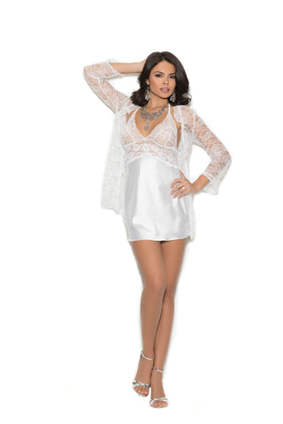ROMANTIC SATIN AND LACE CHEMISE SET in WHITE