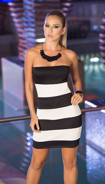 BLACK AND WHITE STRIPED DRESS - Bokeelia Boutique