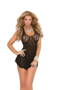 Lace halter mini dress.