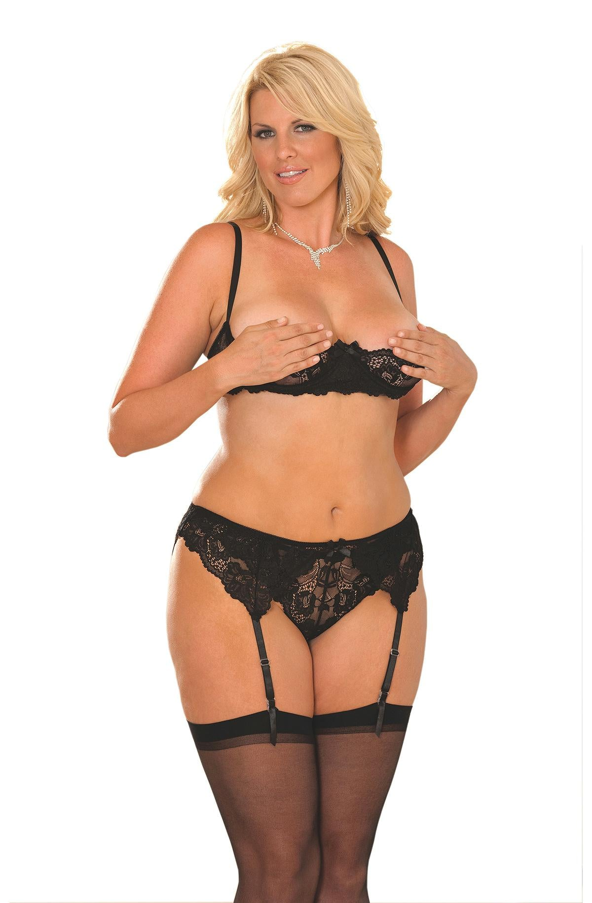 Cupless lace bra with adjustable straps set. - Bokeelia Boutique
