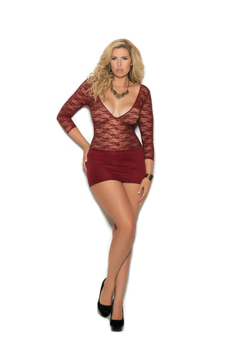 Deep V lace and lycra mini dress with 3/4 sleeves. - Bokeelia Boutique