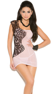 ONE SHOULDER LACE AND MESH CHEMISE SET